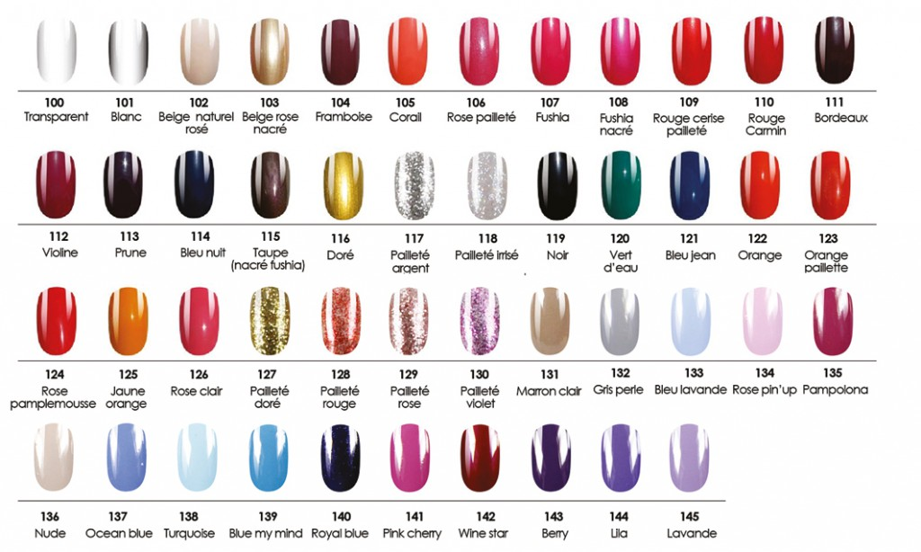 coloris vernis  ongles glam'up